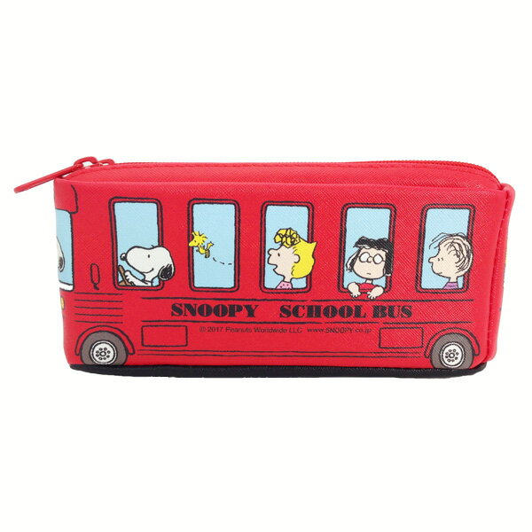 PEANUTS バス型ツインファスナーペンケース ペンケース スヌーピー グッズ &フレンド レッド 新生活 プレゼント