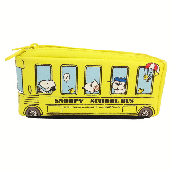 PEANUTS バス型ツインファスナーペンケース ペンケース スヌーピー &フレンド イエロー 新生活 プレゼント