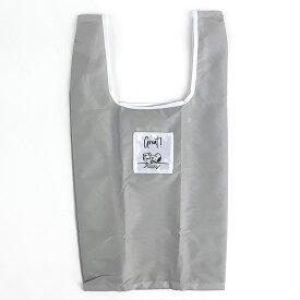 スヌーピー エコバッグ(抗菌)Sマチ広 GY テーブル 折りたたみバッグ コンパクトバッグ 買い物袋 グレー 日本 (MCOR)