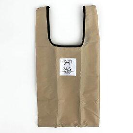 スヌーピー エコバッグ(抗菌)Sマチ広 BE テーブル 折りたたみバッグ 買い物袋 ベージュ 日本 (MCOR)