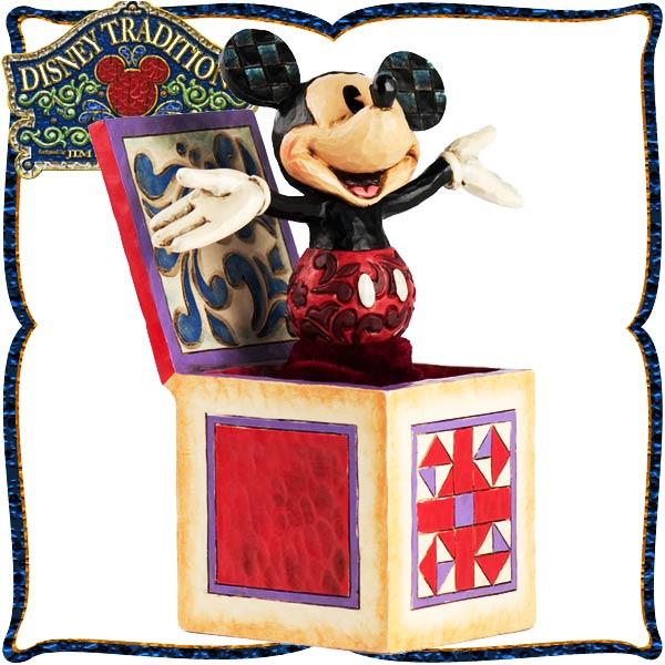 ディズニー 木彫り調フィギュア ミッキーマウス 「Mickey-in-the-box」 ミッキーのビックリ箱 ディズニー・トラディション 在庫限り