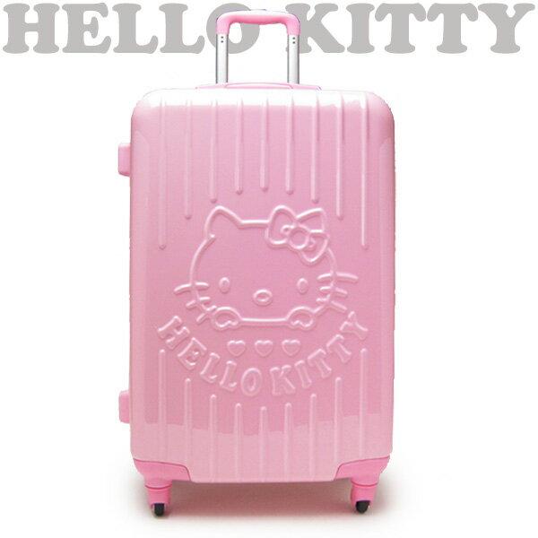 """26"""" キャリーケース キャリーバッグ スーツケース ピンク フレームタイプ フェイス ハローキティ トラベル用品 新生活 プレゼント"""