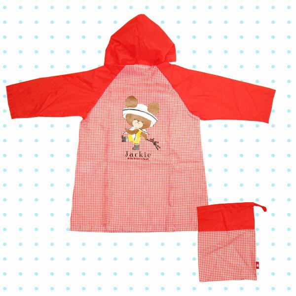 在庫限り:子供レインコート 雨合羽・かっぱ 100cm レッド ギンガム くまのがっこう 雨具 新生活 プレゼント