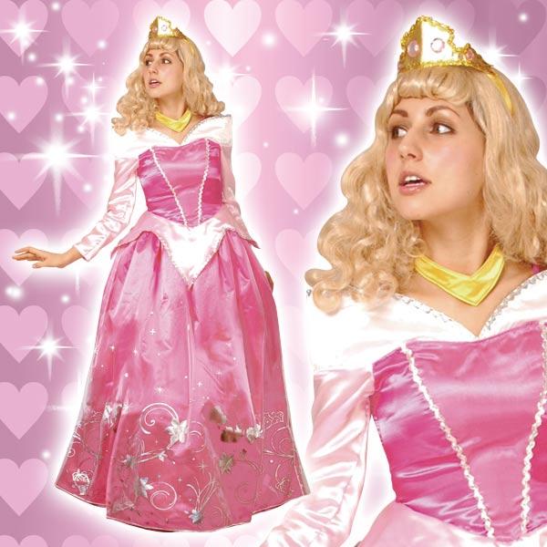 ディズニー コスチューム 大人 女性用 オーロラ姫 眠れる森の美女 プリンセス ドレス デラックス ウィッグ付 仮装 新生活 プレゼント
