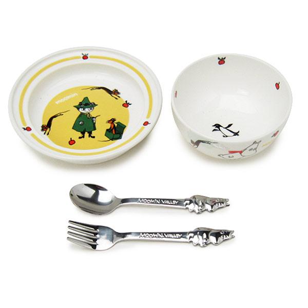 廃盤:ムーミン ベビー食器セット 4点セット 茶碗 小皿 スプーン フォーク 取寄品 3週間前後 新生活 プレゼント