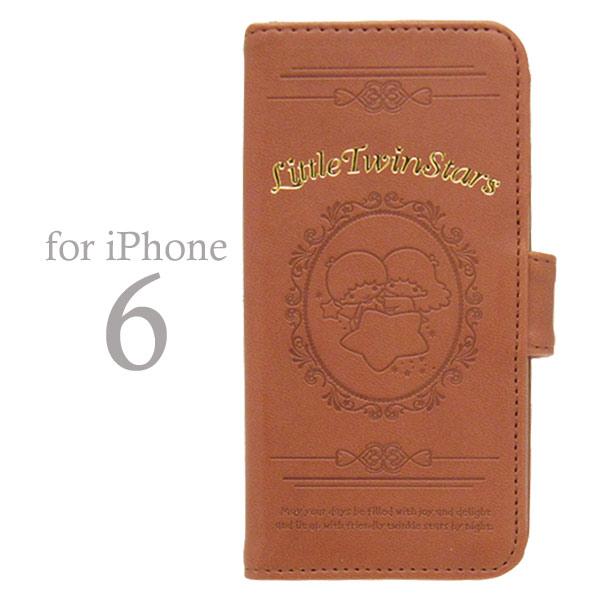 廃盤201606:キキララ フリップケース (手帳型 アイフォンケース iPhone6/4.7インチ専用) ブラウン (リトルツインスターズ) モバイル用品 新生活 プレゼント