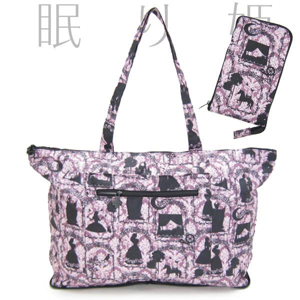 眠り姫 折りたたみ トートバッグ トラベルバック パープル 旅行用品 新生活 プレゼント