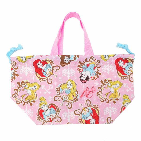 ディズニープリンセス ランチ巾着 きんちゃく袋 お弁当袋 ランチ用品 入園準備 可愛いキャラクターグッズ 新生活 プレゼント