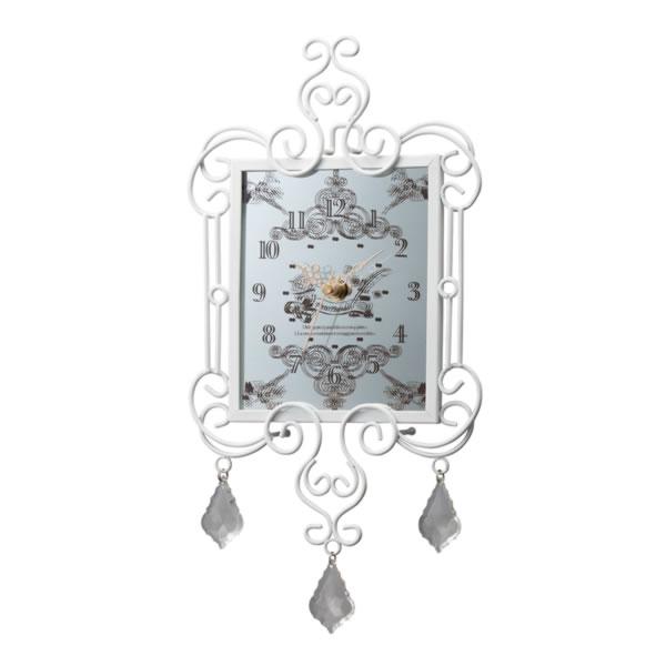 10%オフ全商品やってます ~4/22 ワイヤーミラークロック 掛け時計 ホワイト インテリア用品 取寄品 3週間前後 新生活 プレゼント