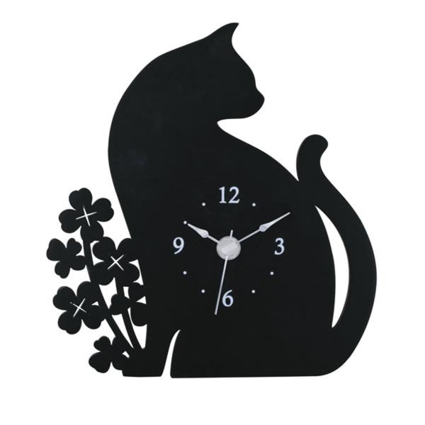 10%オフ全商品やってます ~4/22 猫とクローバーのシルエット時計 掛け時計 置き時計 ブラック インテリア用品 取寄品 3週間前後 新生活 プレゼント