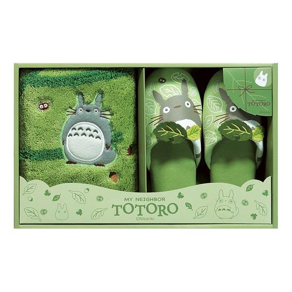 トトロ アクセントマット&スリッパセット ギフトセット グリーン はじめまして となりのトトロ スタジオジブリ 取寄品 3週間前後 新生活 プレゼント