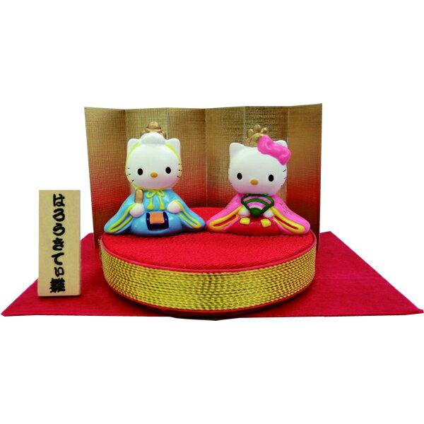 吉徳 雛人形 ハローキティ コンパクトタイプ 親王飾り 丸台 金屏風 サンリオ かわいい キャラクター ひな人形 取寄品 3週間前後 新生活 プレゼント