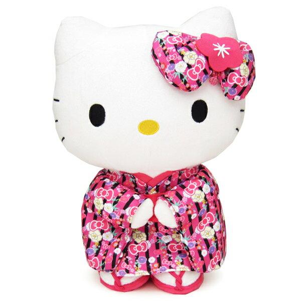 ぬいぐるみ キティ M 立ち 黒ピンク 着物 カワイイジャパン×ハローキティ 新生活 プレゼント