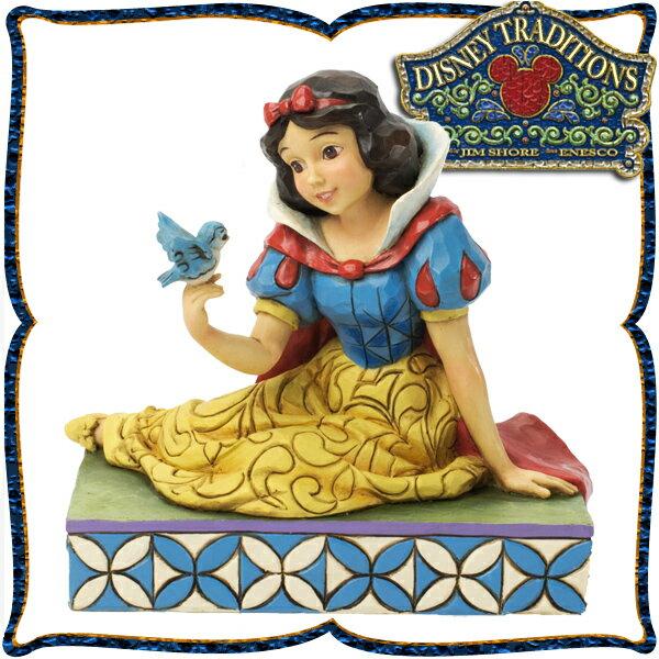 店内全商品対象 限定クーポン 配布中 2018/9/21 20:00~9/26 1:59まで ディズニー プリンセス 木彫り調フィギュア 白雪姫と青い鳥 「Snow White with Bird」 ディズニー・トラディション