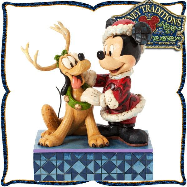 ディズニー 木彫り調フィギュア ミッキーマウス プルート 「Santa Claus」 サンタミッキーとトナカイプルート ディズニー・トラディション 在庫限り 父の日 ギフト プレゼント