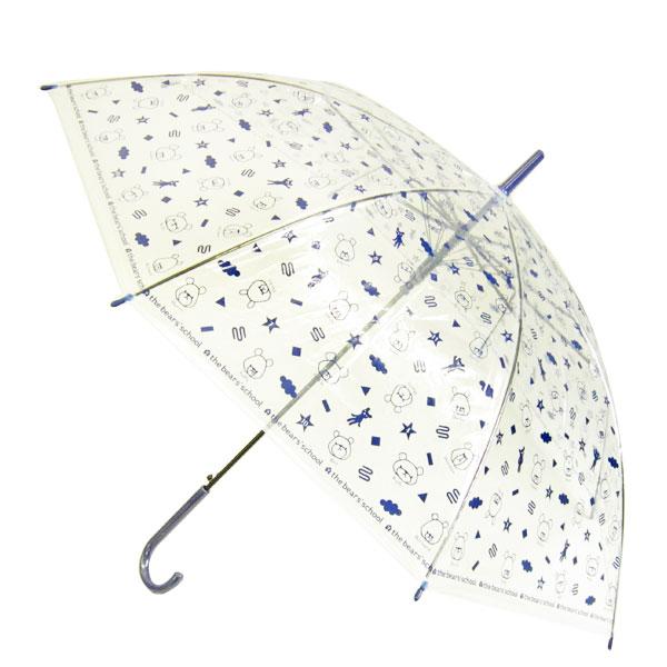 くまのがっこう ビニール傘 傘 かさ 60cm ネイビー 総柄 雨具 新生活 プレゼント