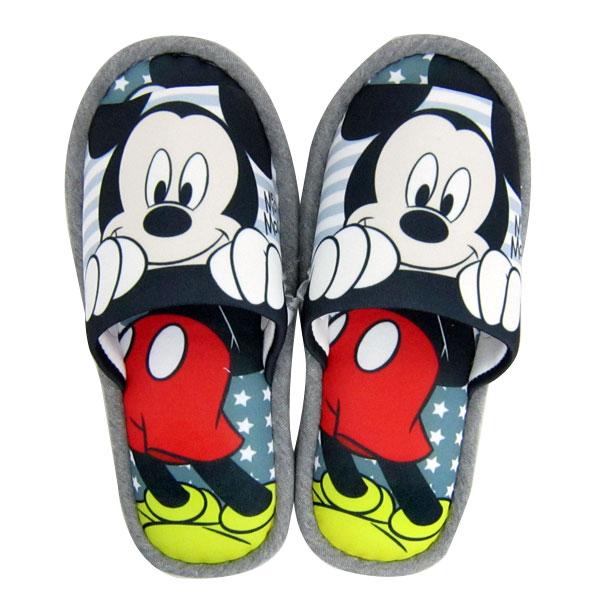 ミッキーマウス 外縫いスリッパ ルームシューズ グレー ディズニー 新生活 プレゼント