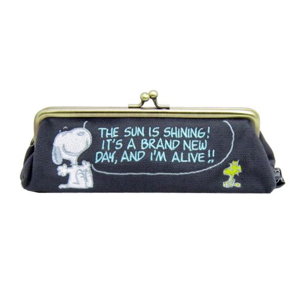 スヌーピー グッズ がま口ペンポーチ キャンバスペンポーチ ペンケース 筆入れ 小物入れ グレー 新生活 プレゼント