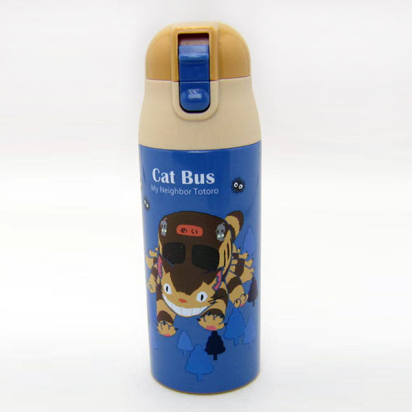 ネコバス 超軽量 コンパクトロック付ワンプッシュステンレスマグボトル 水筒 となりのトトロ スタジオジブリ ランチ用品 入園準備 可愛いキャラクターグッズ 新生活 プレゼント