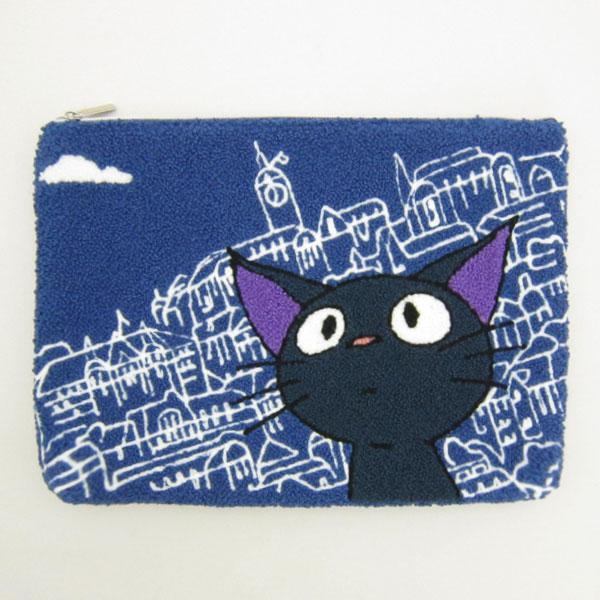ジジ 相良刺繍ポーチ フラットポーチ 小物入れ コリコの街のジジ となりのトトロ スタジオジブリ 新生活 プレゼント