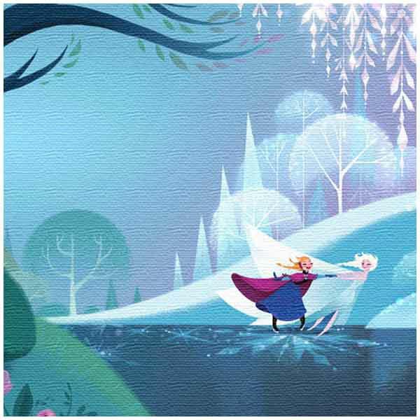 ファブリックパネル エルサ&アナ ブルー お散歩 思い出 アナと雪の女王 アートデリ インテリア 取寄品 3週間前後 新生活 プレゼント