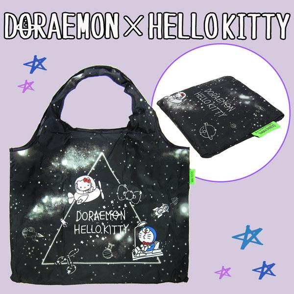 DORAEMON × HELLO KITTY ドラえもん & ハローキティ エコバッグ ショッピングバッグ スペース柄 ORDK 新生活 プレゼント