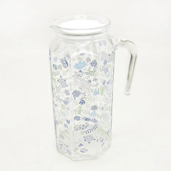 ムーミン 多角形ガラスポット ピッチャー・冷水筒 ブルー フラワートレイル キッチン用品 新生活 プレゼント