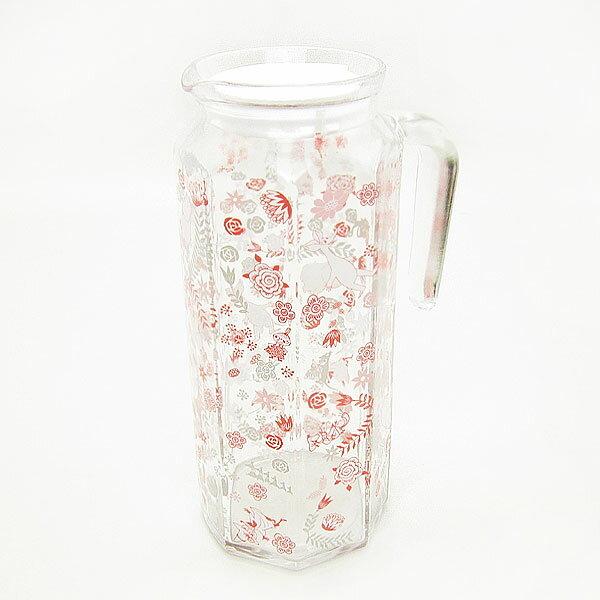 ムーミン 多角形ガラスポット ピッチャー・冷水筒 ピンク フラワートレイル キッチン用品 新生活 プレゼント