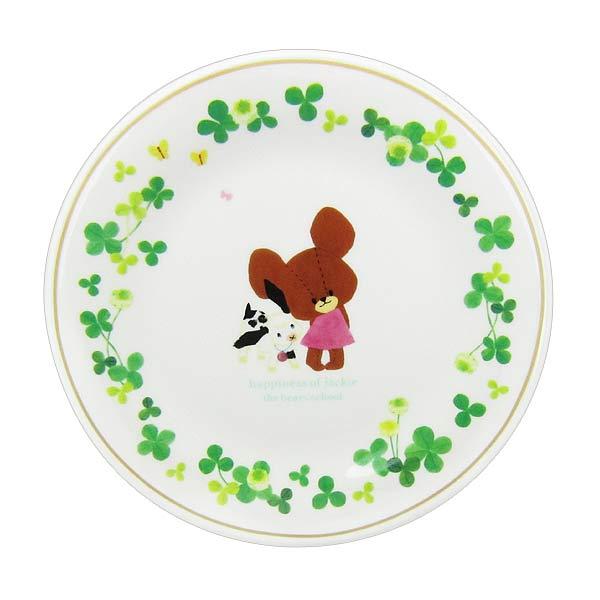 くまのがっこう 15周年 ケーキプレート お皿 ハピネスジャッキー クローバー 日本製 キッチン用品 新生活 プレゼント