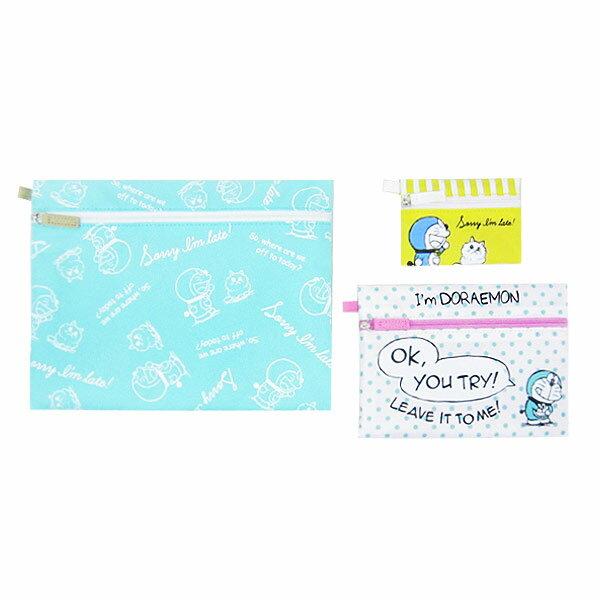 ドラえもん 3連ポーチ フラットポーチ 小物入れ テキスタイル I'm Doraemon ORDR 新生活 プレゼント