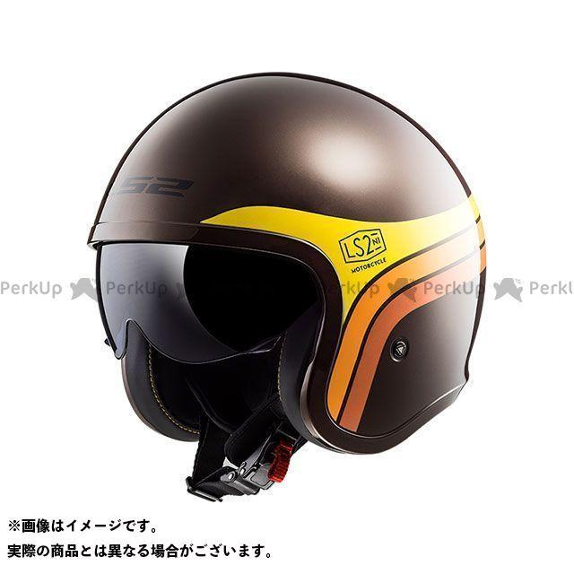 【エントリーでポイント10倍】送料無料 LS2 HELMETS エルエスツー ジェットヘルメット SPITFIRE(ブラウンオレンジイエロー) M
