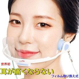 送料無料 KR-3 NOEAR ワンタッチ 衛生マスク 耳が痛くならない 洗える 透明マスク プラスチック 飲食店 接客 美容 医療 育児 イベント 個包装