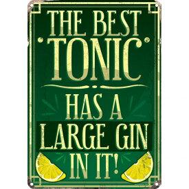 (グラインドストア) Grindstore オフィシャル商品 The Best Tonic Has A Large Gin In It ジントニック ブリキ看板 壁掛け 【楽天海外直送】
