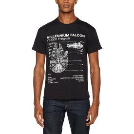 (スター・ウォーズ) Star Wars オフィシャル商品 ユニセックス ファルコン号設計図 プリント 半袖 Tシャツ 【楽天海外直送】
