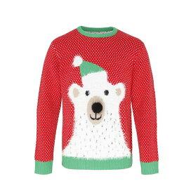 (クリスマスショップ) Christmas Shop ユニセックス 白くま 3Dお鼻 長袖 ニットセーター クリスマスセーター 冬 【楽天海外直送】