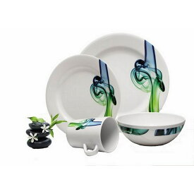 (ライモ) Reimo Lucca 柄入り メラミン プラスチック 食器 16点セット 皿 プレート マグカップ ディナーウェア 【楽天海外直送】