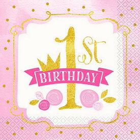 (ユニーク・パーティー) Unique Party ピンク/ゴールド 誕生日パーティー 1歳 ペーパーナプキン (16枚入) 【楽天海外直送】