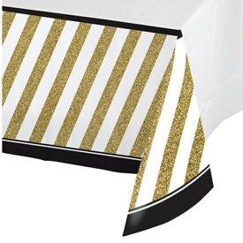 (クリエイティブ・コンバーティング) Creative Converting ゴールド/ブラックストライプ プラスチック テーブルカバー 【楽天海外直送】