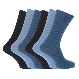 (フロソ) FLOSO メンズ 無地 ノンエラスティック(ゴム無し)トップ 綿100% リブソックスセット 靴下セット (6足組) 男性用 【楽天海外直送】