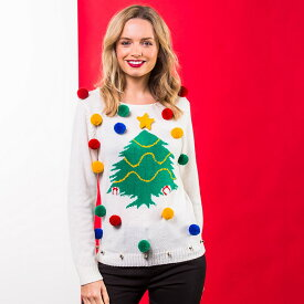 (クリスマスショップ) Christmas Shop レディース クリスマスツリー ポンポンつき クリスマスセーター ニット 【楽天海外直送】