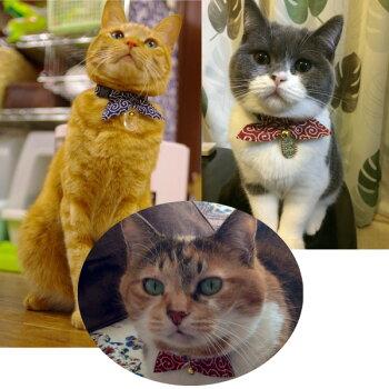ネコ用首輪猫に小判唐草模様<鈴・小判チャーム付き仕様>