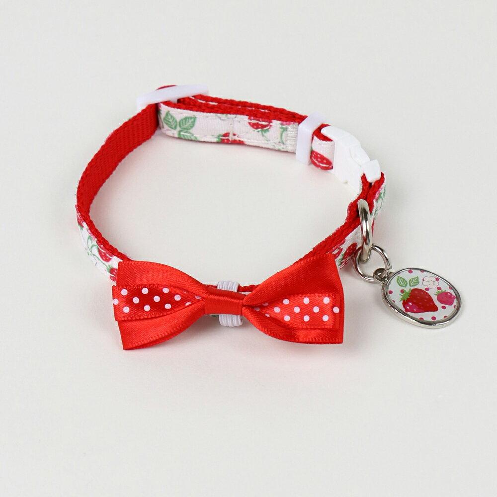 ペットパラダイス プリティブーケ 野いちご柄首輪(赤)【S】  小型犬