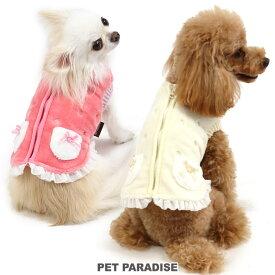 刺繍 背開き ボアベスト 桃 白【小型犬】 | ドッグウエア ドッグウェア いぬ イヌ おしゃれ かわいい キャラクター