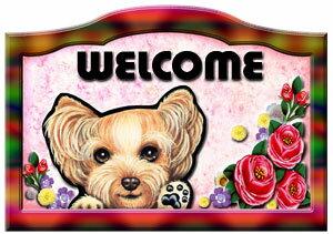 送料無料/名入れ/ヨーキー グッズ 雑貨/ ヨークシャーテリア名入れ 犬 ステッカー/シール/バラ模様/ネームプレート/ヨーキー8/犬/ヨーキー グッズ 雑貨 ヨークシャーテリア/犬 ステッカー