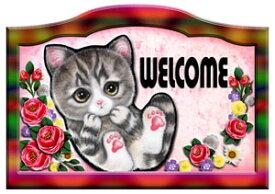 送料無料 猫 グッズ 雑貨 ネコ 名入れ 犬 ステッカー シール バラ模様 ネームプレート 猫102 犬 表札 ウエルカムプレート 玄関 猫 グッズ 雑貨 ネコ