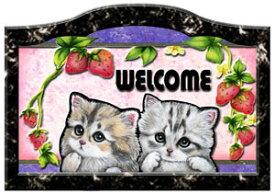 送料無料 猫 グッズ 雑貨 ネコ 名入れ 犬 ステッカー シール いちご模様 ネームプレート 猫201 犬 表札 ウエルカムプレート 玄関 猫 グッズ 雑貨 ネコ