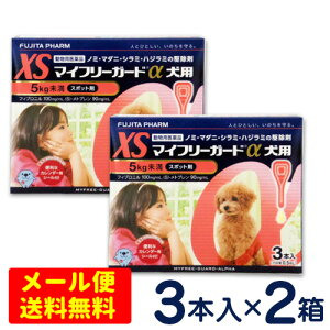 特価SALE!マイフリーガードα 犬用 XS(5kg未満) 3本入り×2個セット  [4箱までメール便対応・代引き不可]ノミ・マダニ駆除剤