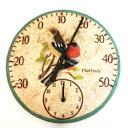 ■ガーデン温度計&時計■OUTSIDE&IN 時計・温度計 小鳥