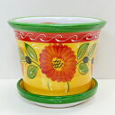 ■スペイン製■ハエン皿付プランターグリーン&オレンジフラワー