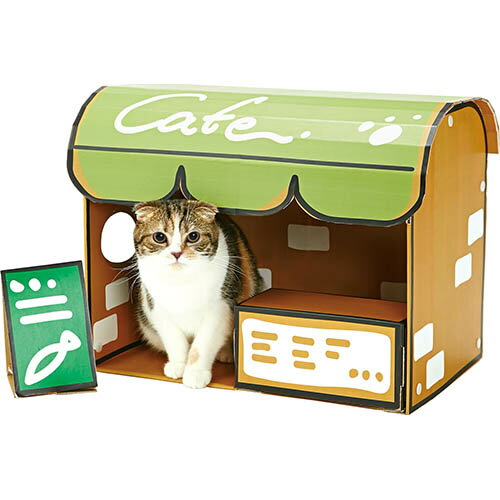 ペティオ ねこあつめ カフェデラックス 国産 日本製 猫用ハウス おもちゃ ダンボール 猫 全猫種 短毛猫 長毛猫 紙 またたび 粉末 Petio